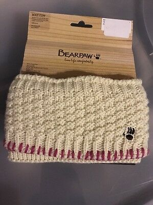 Bearpaw Logo Ivory/Pink Trim Cable Knit Boot Cuffs Toppers  OS