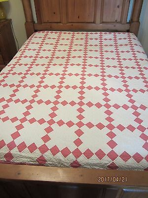 VINTAGE PINK & WHITE SINGLE IRISH CHAIN QUILT, 72 x 84, HAND STITCHED