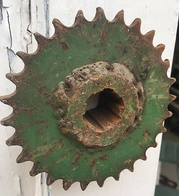Vintage Green John Deere Industrial Machine Age Cast Iron Sprocket Gear