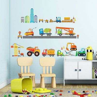 City Construction Site Boy Room Wall Decals Vinyl Removable Sticker Decor