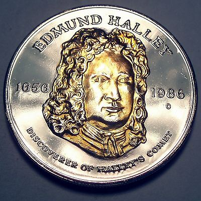 EDMUND HALLEY 1656-1986 Halley's Comet Commemorative Medal UNC 39mm 26g.
