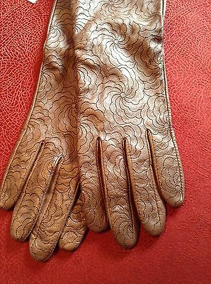 Echo Long Cuff Womens Bronze Leather Gloves Size Large NWT