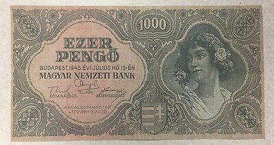 Vintage 1945 Hungary 1000 Pengo Banknote World Paper Money Currency BILL Note