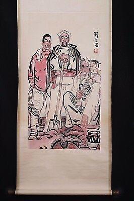 Vintage Long Old Chinese Scroll Hand Painting Figures Marked LiuWenXi PP603