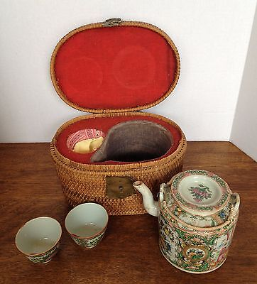 Chinese Porcelain Rose Medallion Tea Set with Original Woven Basket -19th c