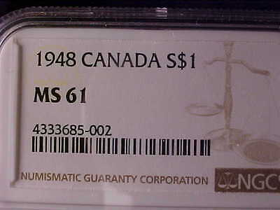 Canada One Dollar 1948 Ngc Ms 61