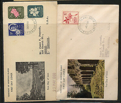 Norfolk  Islands  2  nice cachet first day covers     MS0115