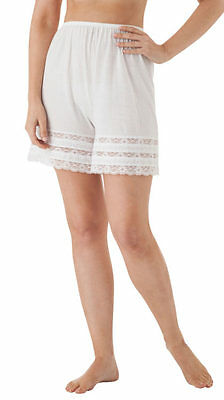 """Velrose Nylon 20"""" pettipants with 3 layer lace, White"""
