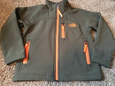 The North Face Boys Youth Spring Jacket Coat Size 5 XXS Army Green Orange