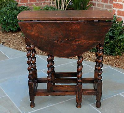 Antique English Oak Barley Twist Drop Leaf PETITE Oval Gate Leg Table 19th C