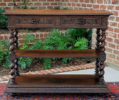 Antique French Oak Gothic Revival BARLEY TWIST 3-Tier Server Buffet Sideboard