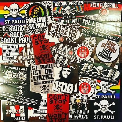 100 x St Pauli Stickers Aufkleber based on Sankt Scarf Ticket Shirt Flag Antifa