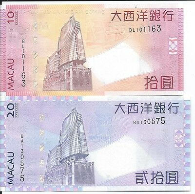 Macao 10 and 20 Patacas 2010, Uncirculated Notes