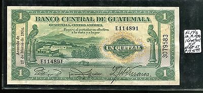 GUATEMALA P-14a, 1934  1 Quetzal banknote in XF condition, Very Scarce