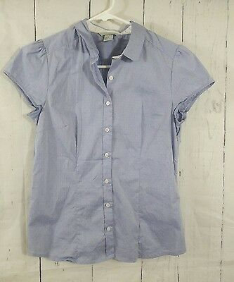 H&M Women's Cap Sleeve Button Down Shirt Top Blouse Hi-Lo Size 8 Collared Career