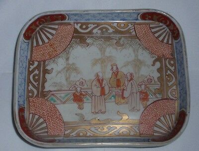 Japanese Antique Hand Painted Tray, Imari Colors Family Scene