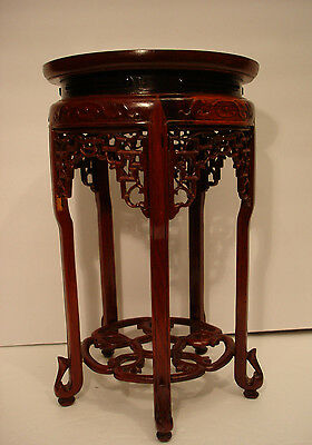 "7 3/4"" Top Vintage Chinese Rosewood Carved Wooden Stand 12 3/8"" High #2"