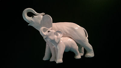Mom and Baby large white ceramic Elephant figurine, Italy numbered