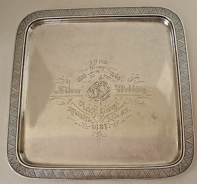 """Gorham Aesthetic Movement Square Tray Atlanta Sterling For """"my Little Wife"""" 1880"""