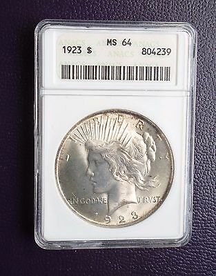 1923-P Peace Silver Dollar, MS64 by ANACS. Beautiful coin!