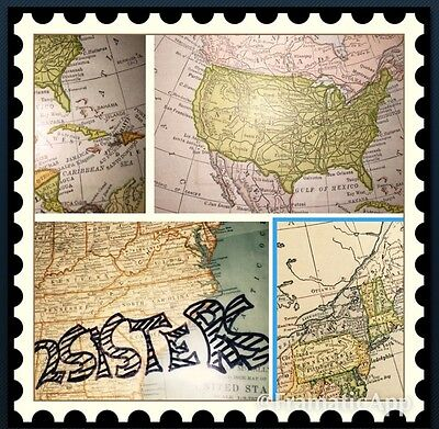 North America & United States Antique Maps Alaska Caribbean Physical Political +