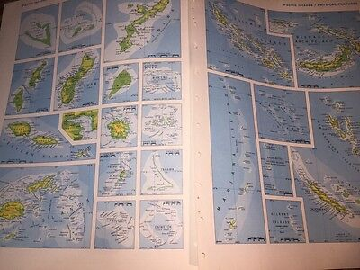 1967 3 Maps Pacific Islands Political Divisions & Physical Features FANTASTIC!!