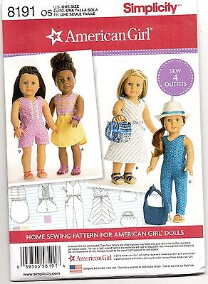 "18-inch Doll "" American Girl "" Variety Sportswear Sewing Pattern # 8191"