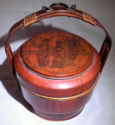 Vintage Chinese Wedding Basket Lacquered Gilt Ornate