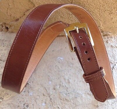 Distressed Justin Belt Western Brown Cowhide Leather Brass Tone Buckle Size 30