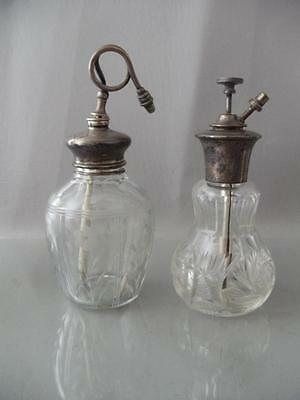ANTIQUE VTG FRENCH CRYSTAL GLASS ATOMIZER PERFUME BOTTLE w STERLING SILVER PUMP