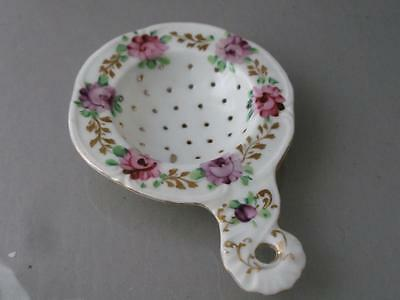 Antique Victorian Vtg Hand Painted Gold Gilt & Flowers Porcelain Tea Strainer