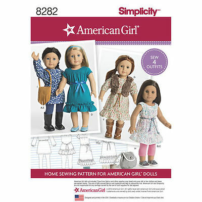 "18-inch Doll "" American Girl "" Variety Dress Sewing Pattern # 8282"