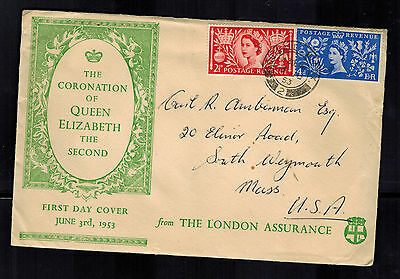 1953 England First Day Cover Queen Elizabeth 2 coronation FDC to USA QE2 FDC  4