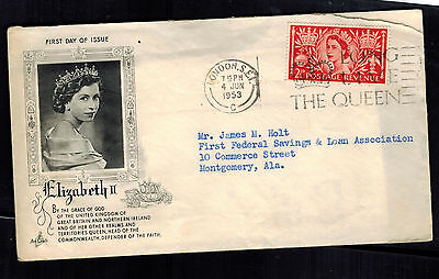 1953 london England First day Cover QE II Queen Elizabeth coronation to USA