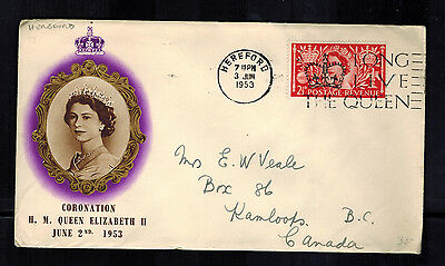 1953 Hereford England First day Cover QE II Queen Elizabeth coronation to Canada