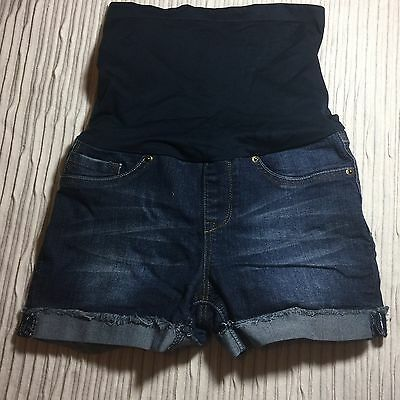 EUC Blue Denim Medium Jean Summer Shorts MATERNITY Panel HAUTE MAMA Pants