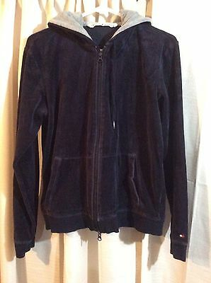 Tommy Hilfiger Women's Navy Blue Velour Zip Up Hoodie Size Large