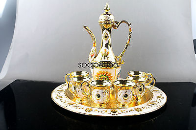 Collectible Decorated Old Golden miao Silver Carved Flower TeaPot Cup Plate Set