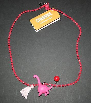 New Gymboree Cozy Valentine Line Red Beaded Dinosaur Dino Necklace One Size NWT