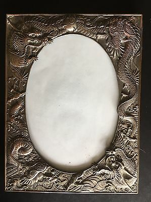 19Th Century China Chinese High Relief Dragon Silver Plated Photo Frame