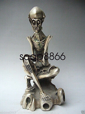 COLLECTIBLE OLD CHINESE HANDWORK CARVED SILVER COPPER Buddha STATUE NR029