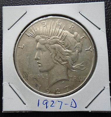 1927-D Peace Silver Dollar - better grade - very nice coin with - semi key date!