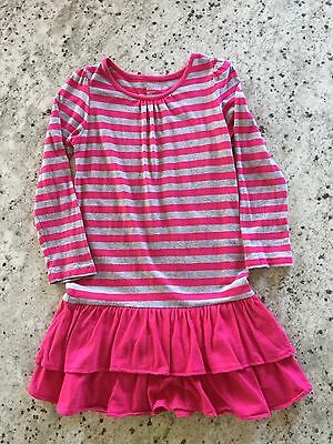 Baby Gap Toddler  Girl Striped  Dress Hot Pink And Gray size:5(year)