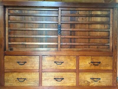 Large Antique Meiji Japanese Tansu Chest Drawers Cabinet