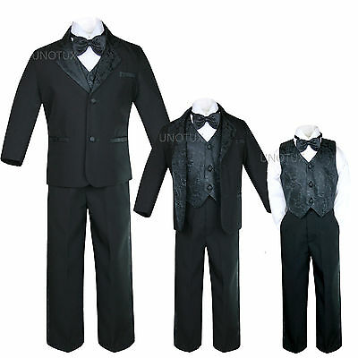 Black Baby Toddler Kid Teen Boys Formal Wedding Bow Tie Paisley Tuxedo Suit S-20