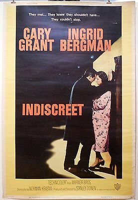 "INDISCREET - HUGE 40"" x 60"" MOVIE POSTER - CARY GRANT - 1958  Never folded"