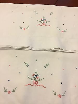 Pair Of Vintage Irish Linen Pillowcases -Embroidered Trim