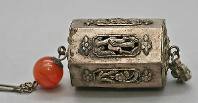Genuine Superb Antique Chinese Solid Silver Hand Crafted Toggle Circa 1880s
