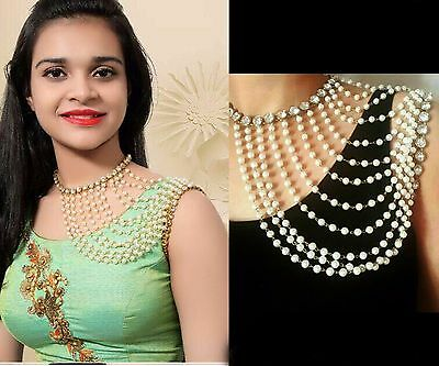 Indian Bollywood Style Pearl made Shoulder Body Chain Full Necklace Jewelry