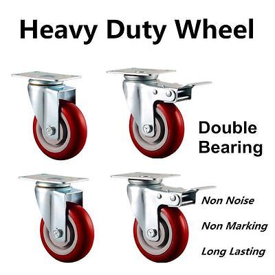 "4 x 5"" Heavy Duty PU Swivel Castor Wheels With Brake 125mm Load 750KG"